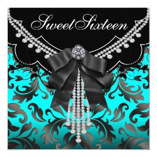 """Black Teal Blue Sweet Sixteen Birthday Party 5.25"""" Square Invitation Card"""