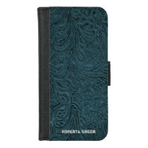 Black Teal Blue Tooled Leather (faux) Personalized iPhone 8/7 Wallet Case