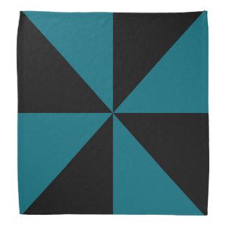 Black, Teal Blue Triangle Pinwheel Pattern Bandana