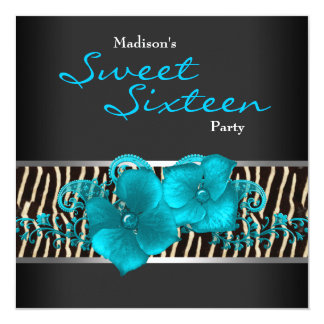 Black Teal Blue Zebra Sweet 16 Birthday Party Card