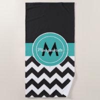 Black Teal Chevron Beach Towel