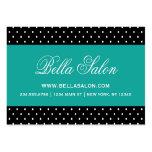 Black & Teal Cute Modern Polka Dots Large Business Card