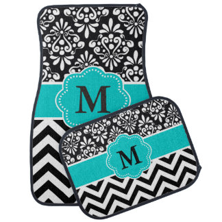 Black Teal Damask Chevron Monogram Car Floor Mat