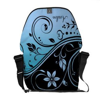 Black & Teal Floral Scroll Messenger Bag