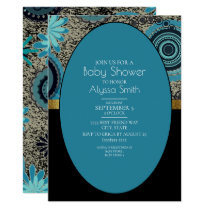 Black Teal Gold Baby Shower Invitation