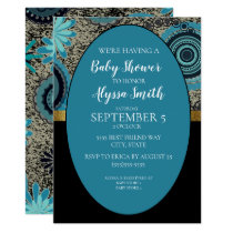 Black Teal Gold Baby Shower Invite