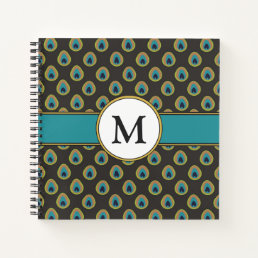 Black, Teal & Gold Peacock Pattern Custom Monogram Notebook