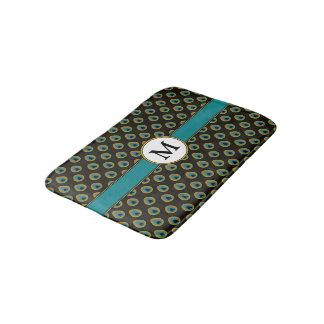 Black Teal Gold Peacock Print Custom Monogram Bathroom Mat