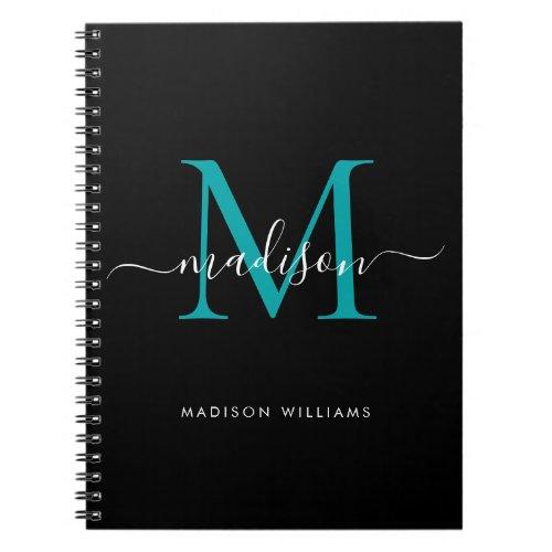 Black Teal Green Monogram Script Name Initial Notebook