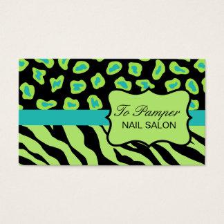 Black, Teal & Green Zebra & Cheetah Skin Custom Business Card