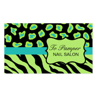Black, Teal & Green Zebra & Cheetah Skin Custom Double-Sided Standard Business Cards (Pack Of 100)