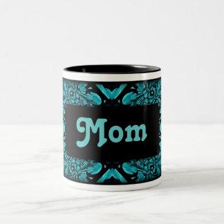 Black teal Mom Two-Tone Coffee Mug