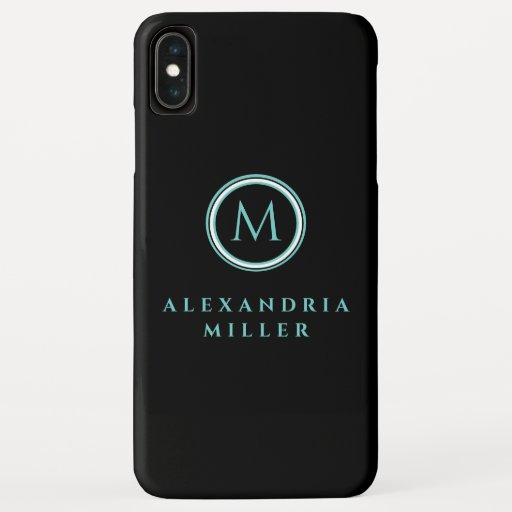 Black & Teal Monogram Medallion | Name iPhone XS Max Case
