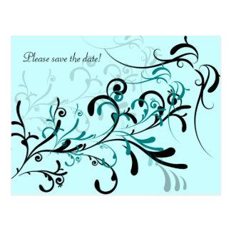 Black Teal on Teal Swirls Postcard