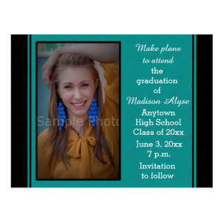 Black Teal Photo Graduation Save the Date Card