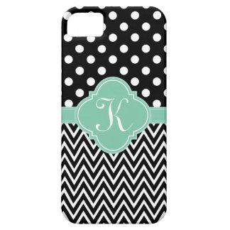 Black Teal Polka Dots Chevron Quatrefoil Monogram iPhone 5 Cover