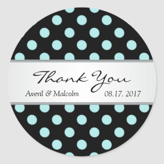 Black & teal polka dots Wedding Thank you Classic Round Sticker