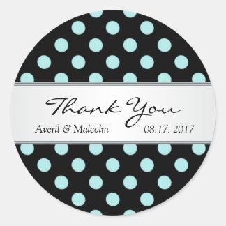 Black & teal polka dots Wedding Thank you Classic Round Sticker