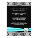 Black Teal Silver Lace Elegant Sweet Sixteen Party Invitations