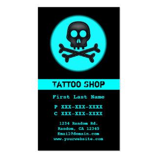 Black teal skull tattoo custom business cards