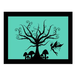 Black Teal Spooky Fairy Postcard