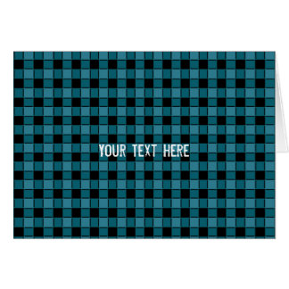 Black & Teal Square Checker Plaid Fold Card
