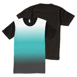 Black Teal White Ombre All-Over-Print T-Shirt