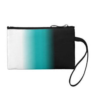 Black Teal White Ombre Coin Wallets