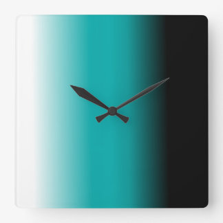 Black Teal White Ombre Square Wall Clock