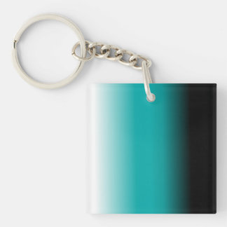 Black Teal White Ombre Keychain