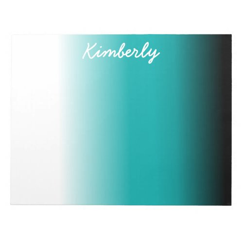 Black Teal White Ombre Notepad