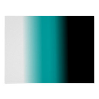 Black Teal White Ombre Poster