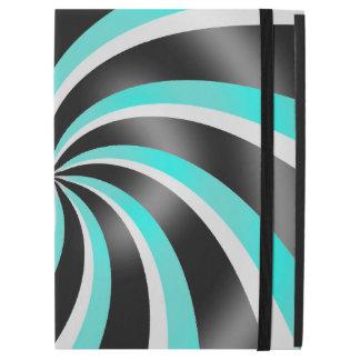 Black Teal & White Swirl Pattern Design iPad Case