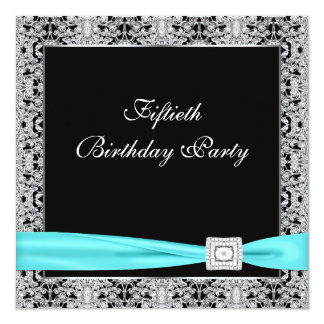 Black Teal Womans Classy 50th Birthday Party Card