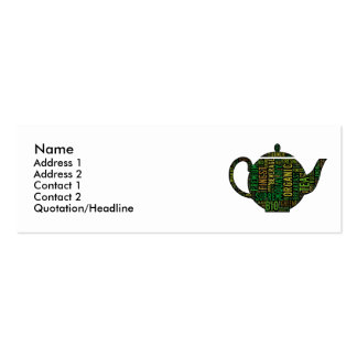 Black Teapot text design Double-Sided Mini Business Cards (Pack Of 20)