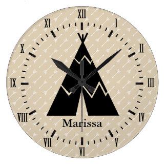 Black Tee Pee White Arrows Roman Numerals Name Large Clock