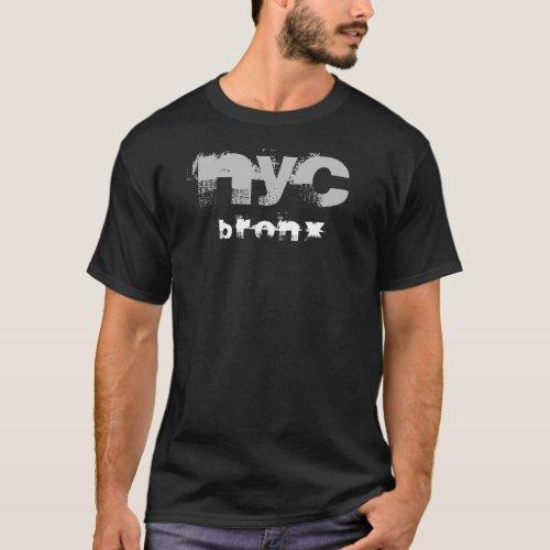 Black Template Trendy Distressed Bronx Nyc Text T_Shirt