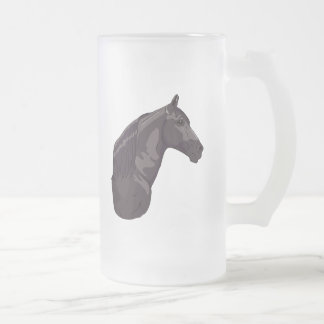 Black Tennessee Walking Horse Frosted Glass Beer Mug