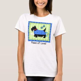 Black Terrier Dog Green Blue Scottie Love Paw T-Shirt