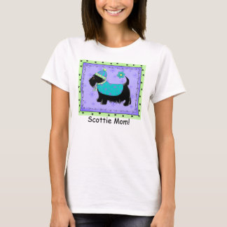 Black Terrier Dog Purple Green Custom Scottie Mom T-Shirt