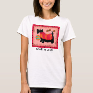 Black Terrier Dog Red Coral Custom Scottie Love T-Shirt