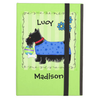 Black Terrier Scottie Dog Name Personalized Green iPad Air Cover