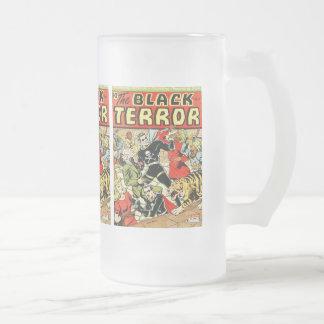 Black Terror Comic Frosted Glass Beer Mug