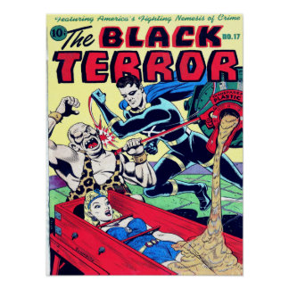 BLACK TERROR Cool Vintage Comic Book Cover Art Poster