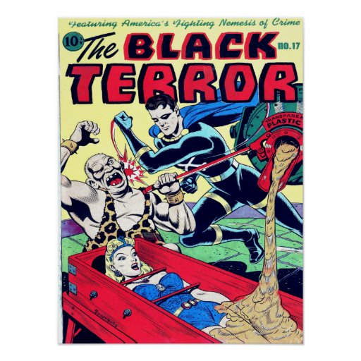 Cool Book Cover Posters ~ Black terror cool vintage comic book cover art poster zazzle