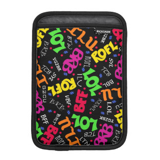 Black Text Art Symbols Abbreviations iPad Mini Sleeve