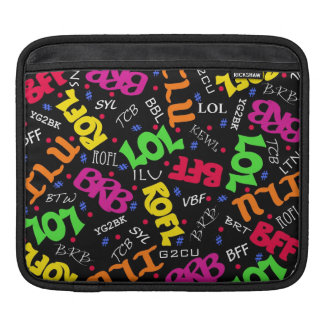 Black Text Art Symbols Abbreviations iPad Sleeve
