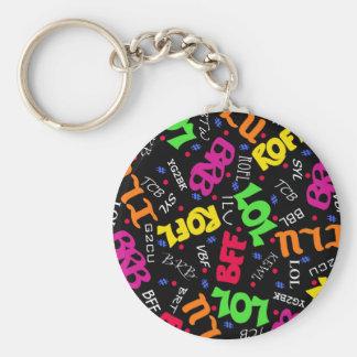 Black Text Art Symbols Abbreviations Keychain