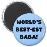 Black Text Best-est Baba T-shirts and Gifts 2 Inch Round Magnet