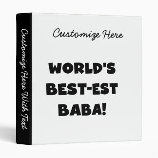 Black Text Best-est Baba T-shirts and Gifts Binder